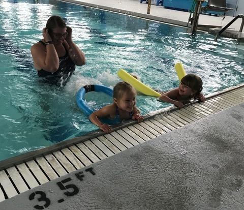 Swim lessons, working on our kicks!