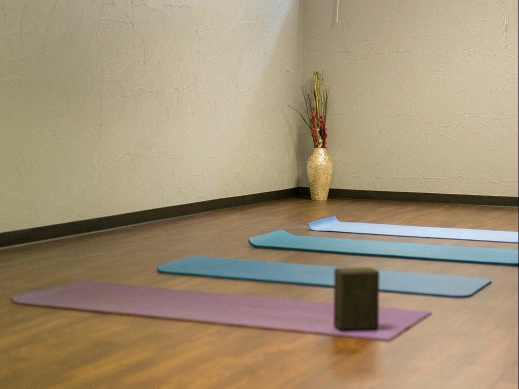 Yoga Room ready for class with mats laid out